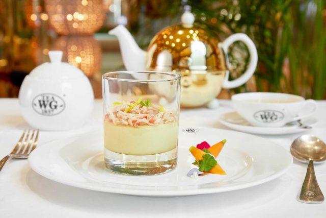 01 Baked parmesan mousse with crab meat salsa and White Christmas Tea Glaze