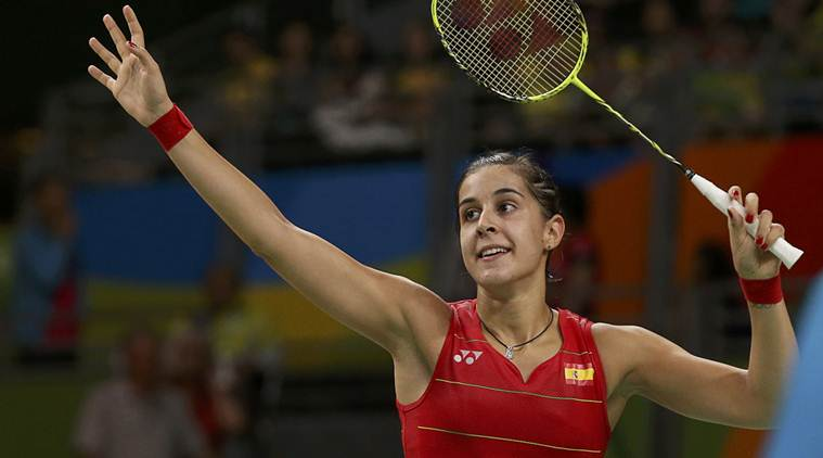 2016 Rio Olympics - Badminton - Women's Singles - Semifinals - Riocentro - Pavilion 4 - Rio de Janeiro, Brazil - 18/08/2016. Carolina Marin (ESP) of Spain gestures after winning her match against Li Xuerui (CHN) of China.   REUTERS/Marcelo del Pozo FOR EDITORIAL USE ONLY. NOT FOR SALE FOR MARKETING OR ADVERTISING CAMPAIGNS.