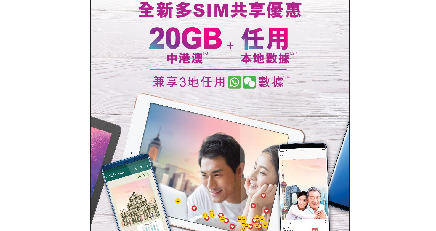 3HK 共享 SIM 月費計劃升級 20GB 中港澳數據 / 3 地任用 WhatsApp + WeChat