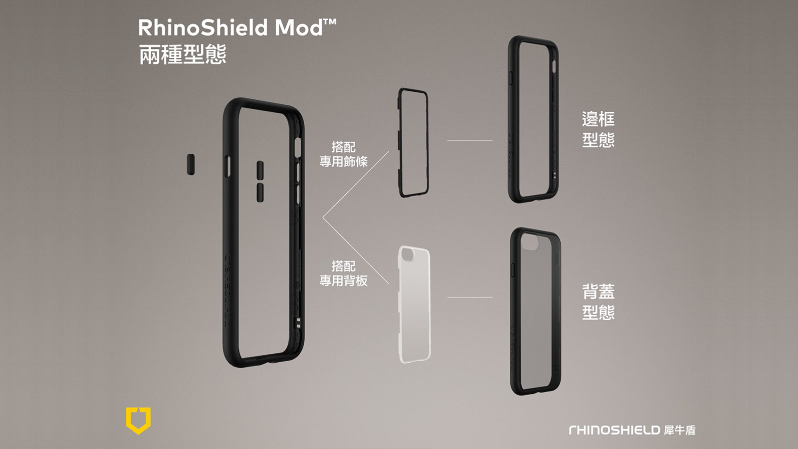 邊框+保護殻隨時互換  Rhino Shield MOD 機殼專攻保護玻璃背