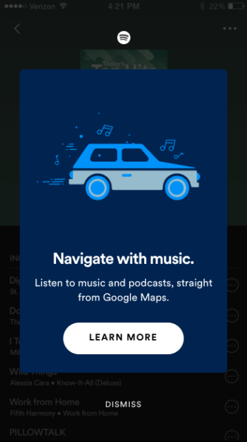 Spotify X Google Maps 一路導航同時揀車一 App 過做齊