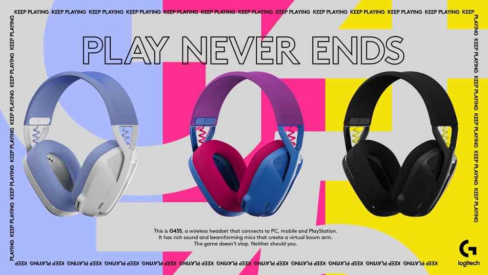 Logitech G435 雙模無線藍牙耳機  3 種不同鮮色打通電腦遊戲機