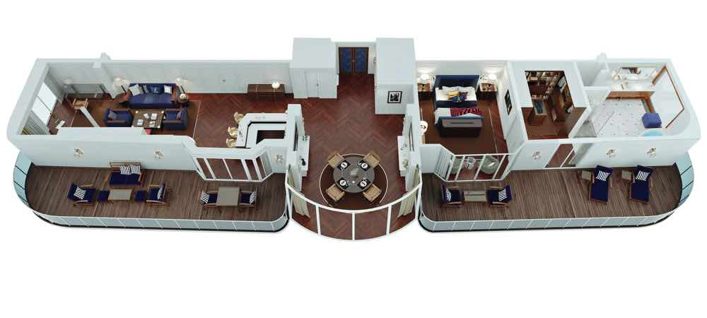 大洋郵輪新船「Vista」主人套房及高層圖書館 全面配置RALPH LAUREN HOME系列家具