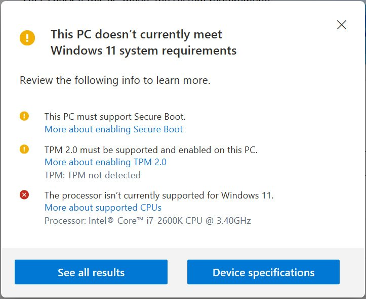 pc health check not compatible